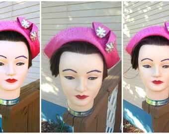 Vintage 1950s 50s Hat Rose Pink Veil Rockabilly VLV