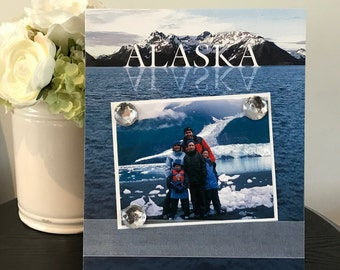 Alaska Cruise Glacier Bay - Magnetic Picture Frame Handmade Gift Present Home Decor by Frame A Memory Size 9 x 11 Holds 5 x 7 Photo