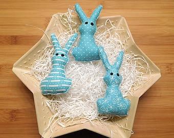 Easter Rabbits Ornaments Primitive Bowl Fillers Aqua Blue Spring Holiday Decorations