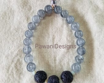 Gray Jade with Lava Beads Stretchy Bracelets