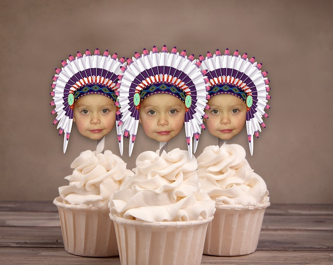 Photo Cupcake Toppers, Digital File, Indian, chief, western,, first birthday, Thanksgiving, pow wow, party, birthday, western