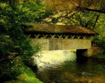 Landscape Decor, Home Decor, Rustic Decor, Large Wall Art, Waupaca, Wisconsin, Bridge at the Red Mill