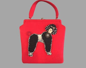 1950s Jolles Originals Wool Poodle Purse