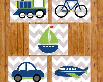 Things That Go Transportation Plane Train Car Boat Bike Wall Art Boy's Room Decor Navy Green Printable 8x10 JPG Files Instant Download (129)