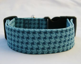 Mini Houndstooth Blue Adjustable Dog- Pet Collar- Pet Supplies Dog Collar- Small to Large Breed Dog-1 inch 1.5 -2 inch width