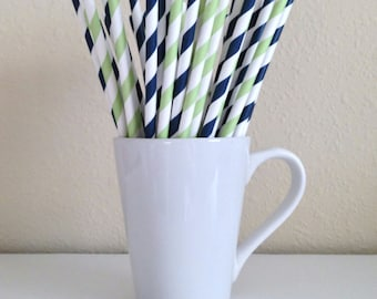Navy and Green Paper Straws Navy Blue and Light Green Striped Party Supplies Party Decor Bar Cart Cake Pop Sticks Graduation