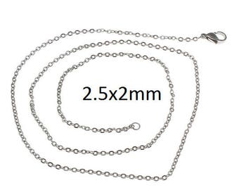 5 Pieces Stainless Steel Oval Link necklace 2.5x2mm with Claw Clasp 23.5 inch