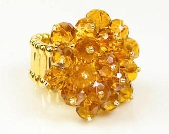 Swarovski Crystal Ring, Dark Topaz Swarovski Crystal Adjustable Cocktail Ring, Gold Stretch Band, Topaz Crystal Ring, Adjustable Ring R0056