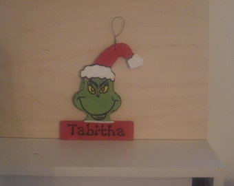 Grinch with Santa Hat Christmas Ornament - Personalized