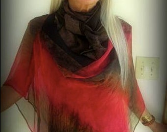 Ember Infinity Shawl - Hand Painted Silk Chiffon Beach Poncho