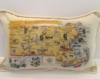 Massachusetts State Map Pillow