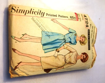 Vintage 1960s Simplicity 4724 half size slenderette dress sewing pattern