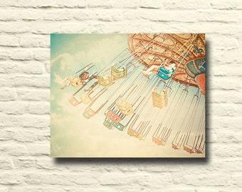 Carnival Photography. swings. santa cruz beach boardwalk. vintage art. retro home decor. canvas wall art. nursery decor. summer