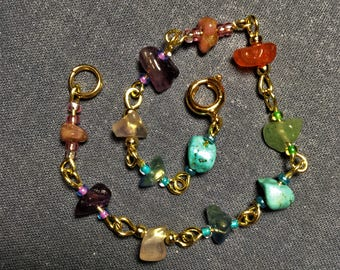 BE HAPPY ! Natural Stones Bracelet - 7 Different Stones to Facilitate Joy and Happiness