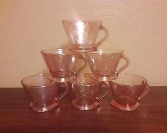 Vintage Set of Six Flora Gold or Louisa Cups