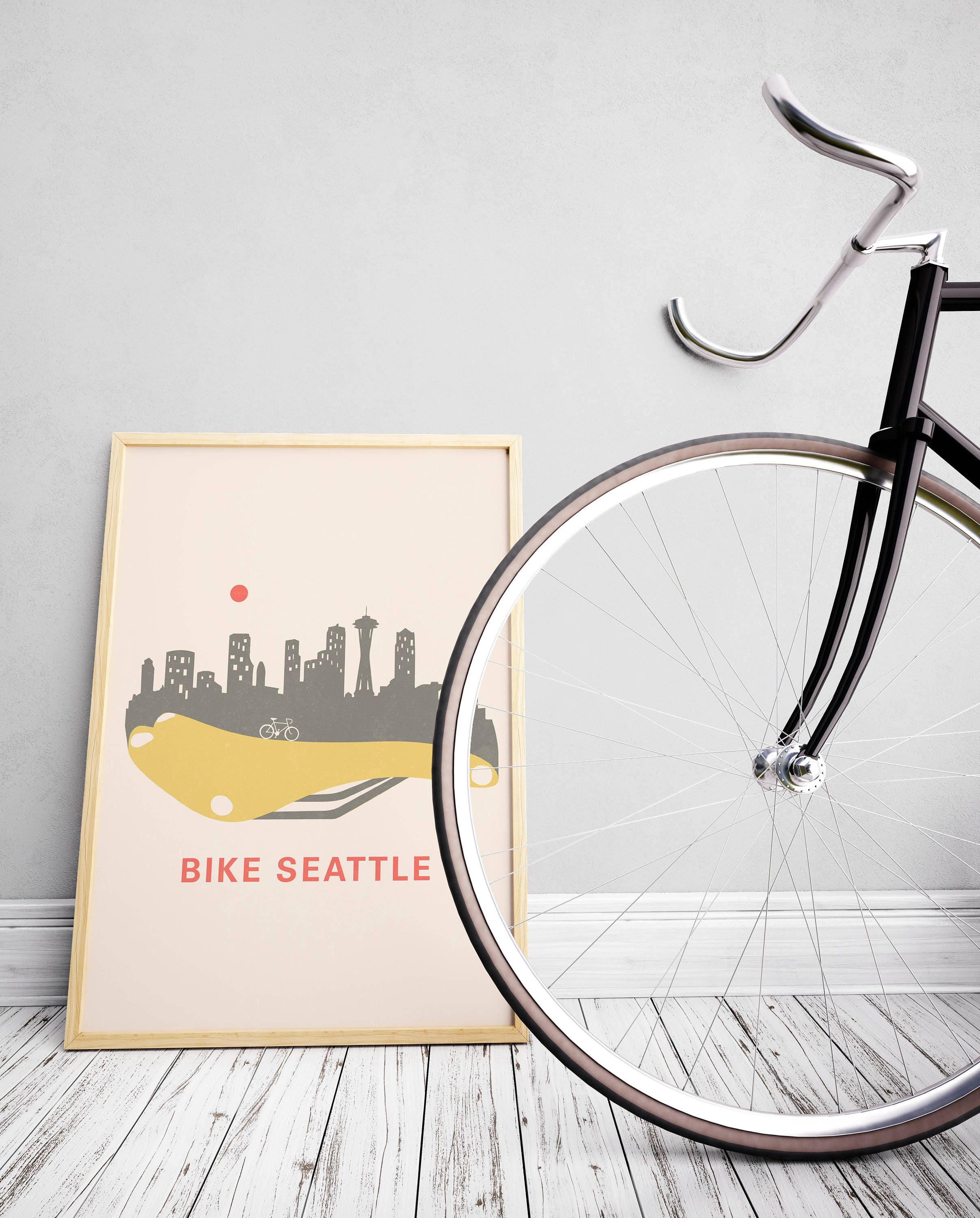 Mens Cyclist Gift Seattle Skyline Home Décor Bike Wall
