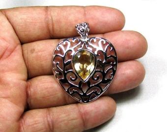 7.42 CT Citrine Gemstone, 925 Sterling Silver Jewelry Fine Designer Pendant 37x47