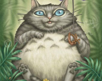 Totoro Cat - 8x10 art print - Totoro as a cat sitting in the forest
