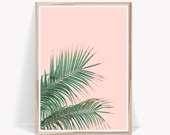 Tropical Leaves,Palm Leaf,Leaves,Wall Art,Art Prints,Tropical Decor,Tropical,Pink,Prints,Large Wall Art,Palm Leaf Print,Digital Prints,Leaf