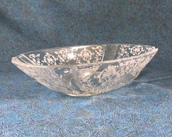 Vintage Fostoria Navarre Oval Flame Etched Bowl, Mid Century Glass Console Bowl
