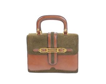 Vintage 60s Box Purse Accordion Handbag Briefcase Style Bag Leather Suede Brown Olive Purse Womens Accessories 1960s Mod Handbag