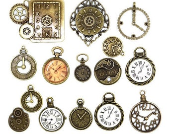 20 piece Assortment Steampunk Clock Face Charm Pendants