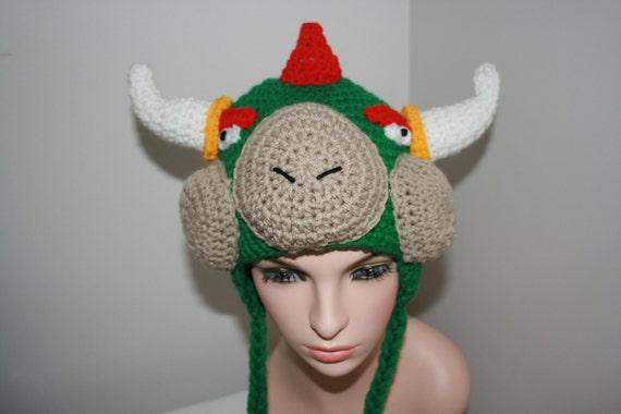 Bowser inspired crochet earflap hat mario bros bowser inspired crochet earflap hat mario bros character inspired green dragon monster computer game inspired hat mario brothers hat dt1010fo