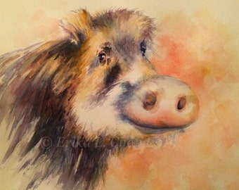 Watercolor White-Lipped Peccary (PRINT) 12x9 inches (15% Proceeds Benefits Proyecto Asis in Costa Rica)