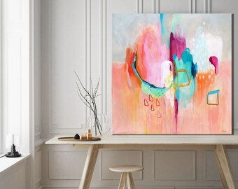 Abstract print large pink, abstract painting print, large pink abstract art print, abstract art for bedroom, gray, abstract canvas art