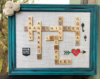 Family rustic scrabble name frames--custom made to order