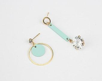 Baby blue earring, Asymmetricl earring, Cubic Zirconia earring, K-pop earring, Cute earring, Gold-plated earring, dangle earring, punk style
