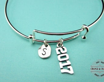2017 Bangle, Graduation Bangle, Graduation Gift, Graduation Jewelry, 2017 Bracelet, Silver Plated,Initial,Charm Bracelet,Personalized,COT005