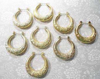 6 Pairs of goldplated Hoop Earrings with Flower Design