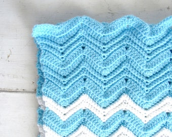 Crochet Baby Blanket Handmade Boys Bright Blue White Chevron Striped Knit Stroller Blanket 32 x 30 Inches