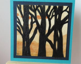 "Black Trees miniature painting original watercolor 2"" wide X 2"" tall for dollhouse or collecting"