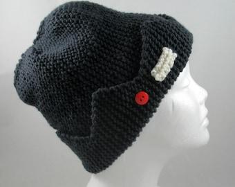 Jughead Hat, pure wool hat, grey hat, riverdale hat, whoopee hat, hand knit hat