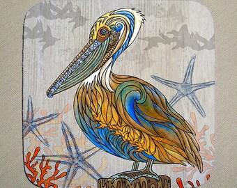 Pelican Perch Coaster Set of 4