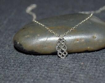 oval celtic knot necklace, sterling silver dainty necklace, minimalist everyday necklace, silver oxidized, rustic jewelry, celtic pattern