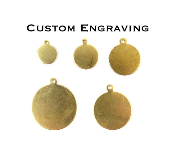 Custom Engraving Circle Charms - with bail