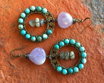 Amethyst, Turquoise & Labradorite Rustic Statement Earrings - Wire Wrapped with Gunmetal Wire - Dangle Hoops - Chandelier Earrings