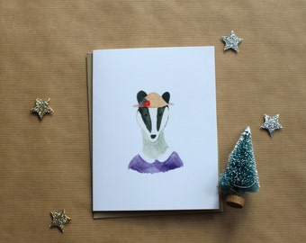 Watercolor Lady Badger Card
