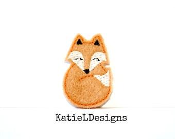 Fox Feltie Machine Embroidery Design Pattern Download 4x4 5x7 In The Hoop ITH Oversized Felties Woodland Modern Animal Cute