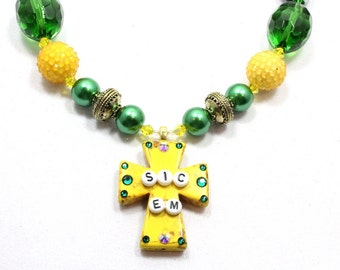 Baylor Chunky Necklace, Sic em, Baylor Bears Necklace, Spirit Necklace, School Necklace, Graduation Gift