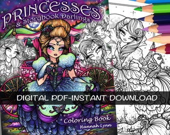 PDF DIGITAL Printable Coloring Book Fairy Tale Princesses & Storybook Darlings All Ages Fantasy Fairy Art by Hannah Lynn