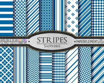 Sapphire Blue Digital Stripe Paper: Blue Stripe Paper, 12x12 Blue Stripes, Blue Stripe Download, Geometric Blue Seamless Patterned Papers