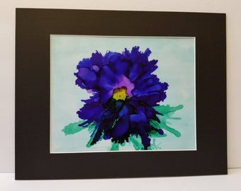 "Original hand painted alcohol ink modern abstract floral decorative on 8x10"" vellum matted to 11x14"" purple & blue"