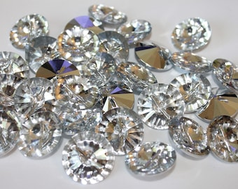 Shiny clear imitation diamond buttons, 10 shank buttons, fancy sewing buttons, 18 mm buttons, silver crystal shiny buttons