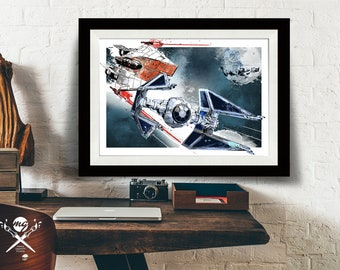 Star Wars Art - A-wing and Tie Fighter battle - Star Wars Poster, Art Print, Star Wars print, fan art illustration, Star Wars Gift