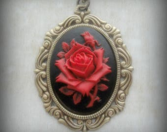 Cameo Necklace - Red Rose Cameo - Rose Necklace - Gothic Cameo - Victorian Jewelry - Red Rose Jewelry - Gothic Jewelry - Flower Cameo