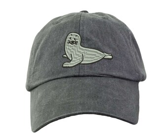 Seal Hat.  Baseball Hat. Cool Mesh Lining & Adjustable Strap. 33 Colors Avail. HER-LP101
